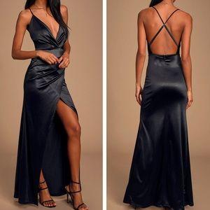 Ever Enchanted Black Satin Dress